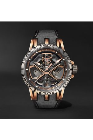 ROGER DUBUIS Homme Montres - Excalibur Huracán Automatic Skeleton 45mm 18-Karat Pink Gold, Titanium and Rubber Watch, Ref. No. RDDBEX0750