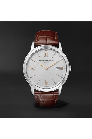 Baume & Mercier Homme Montres - Classima Quartz 42mm Stainless Steel and Croc-Effect Leather Watch, Ref. No. 10415