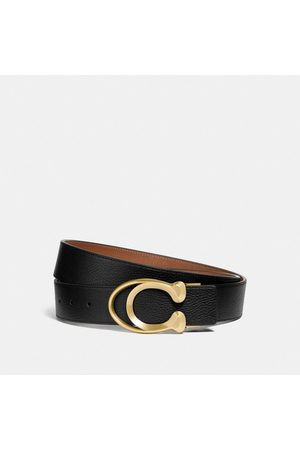 COACH: Ceinture à boucle exclusive, 38 mm in Black/Brown