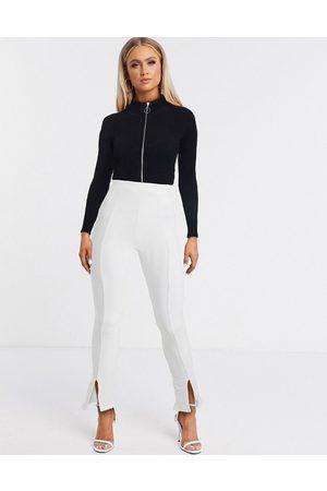 Fashionkilla Femme Pantalons Slim & Skinny - Pantalon slim fendu devant