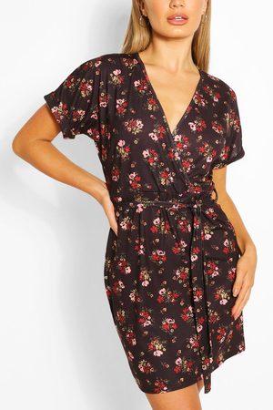 Boohoo Floral Tie Waist Wrap Tea Dress