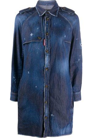 Dsquared2 Robe-chemise courte à effet usé