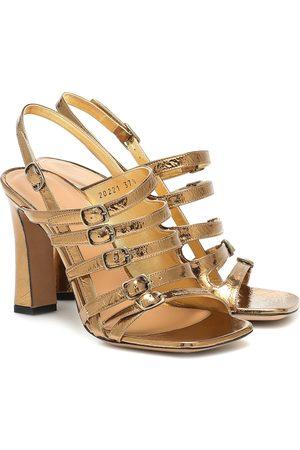 DRIES VAN NOTEN Sandales en cuir métallisé