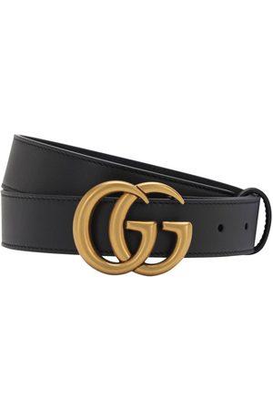 """Gucci Ceinture En Cuir Avec Boucle """"gg"""" 3 Cm"""