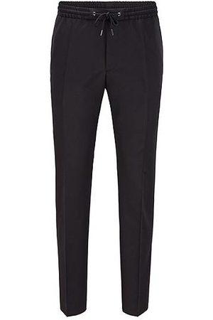 HUGO BOSS Pantalon Slim Fit en laine vierge avec taille à cordon de serrage