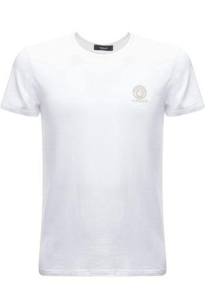 VERSACE T-shirt En Coton Stretch Imprimé Logo