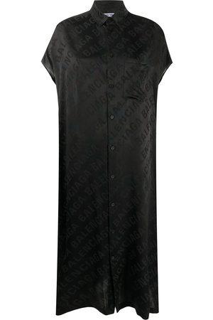 Balenciaga Robe-chemise à logo en jacquard