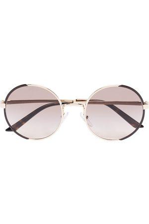 Prada Gold tone round sunglasses