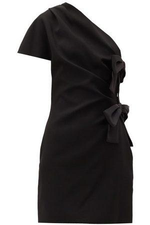 Saint Laurent Robe courte asymétrique en satin à naud