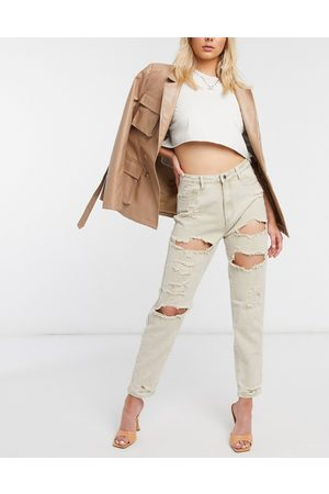 Missguided Jean mom ultra déchiré - Taupe