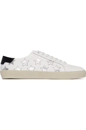 Saint Laurent White and silver star appliqué leather sneakers