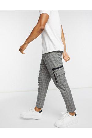 ASOS Pantalon habillé coupe ajustée à carreaux avec poches cargo