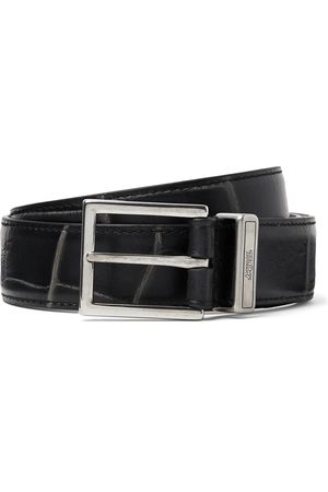 Alexander McQueen 3cm Croc-Effect Leather Belt