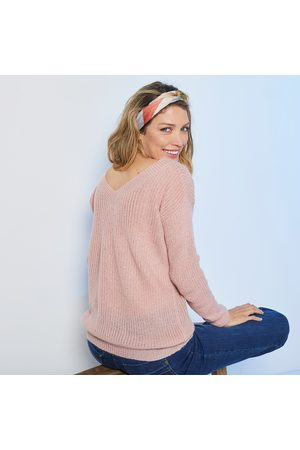 BLANCHEPORTE Pull V forme loose maille anglaise