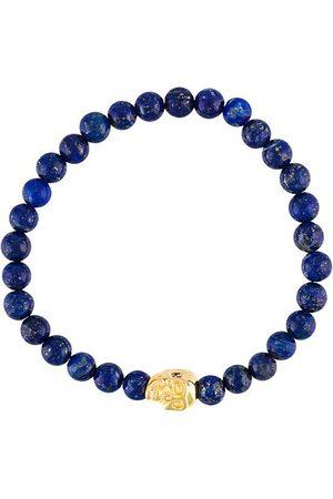 Nialaya Homme Bracelets - Bracelet à perles en lapis lazuli et tête de mort