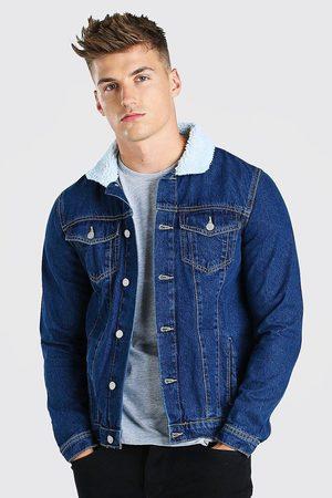 Boohoo Veste en jean regular avec col borg Homme