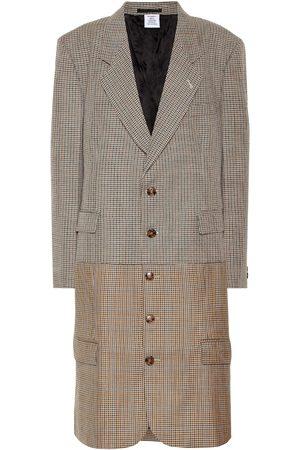 Vetements Manteau en laine vierge à carreaux