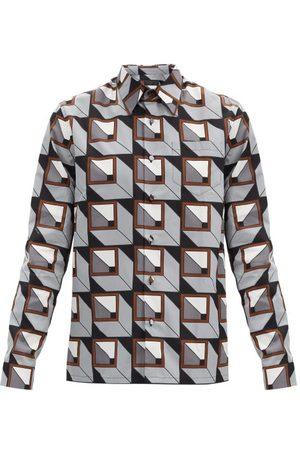Prada Homme Business - Chemise en popeline de coton à imprimé Cubic