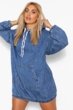 Boohoo Robe Pull À Capuche En Denim Plus