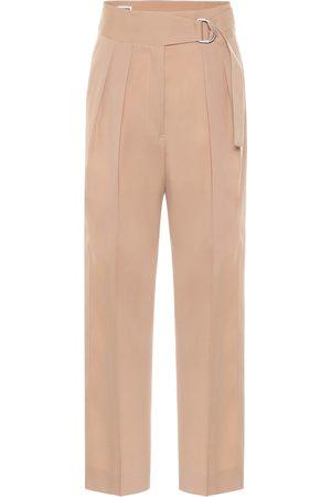 Jil Sander Pantalon à taille haute en laine vierge