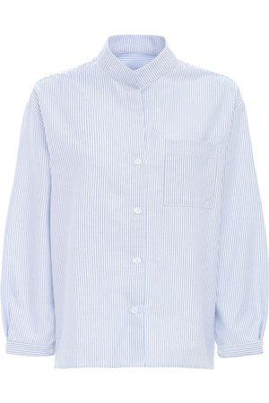 THE SLEEP SHIRT Striped Cotton Flannel Pajama Shirt