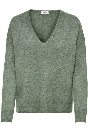 Only V-neck Knitted Pullover Women Green