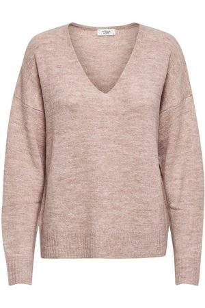 Only V-neck Knitted Pullover Women Pink