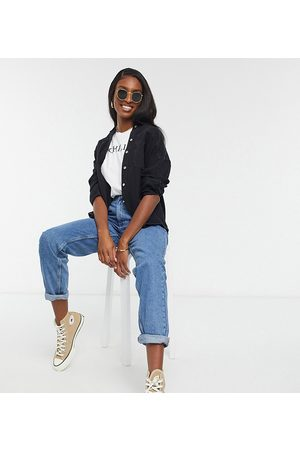 Pull&Bear Tall - Jean mom à taille élastique