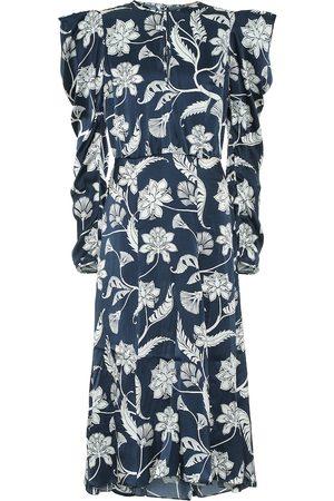 JOHANNA ORTIZ Robe midi Wild Blue Wonder en soie à fleurs