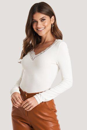 NA-KD Lace Detail Ribbed Top - White