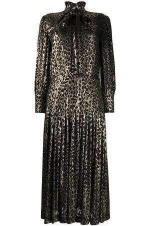 Saint Laurent Robe mi-longue à imprimé léopard