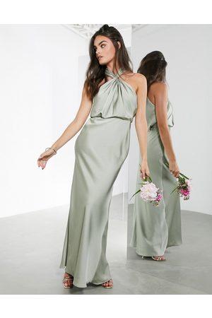 ASOS Robe longue dos-nu en satin froncé - sauge