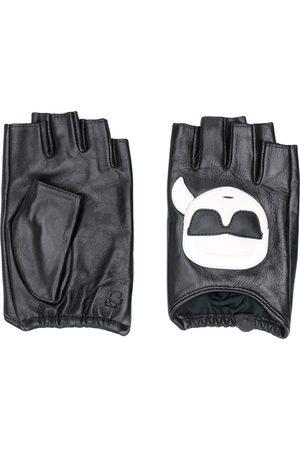 Karl Lagerfeld Logo print fingerless gloves