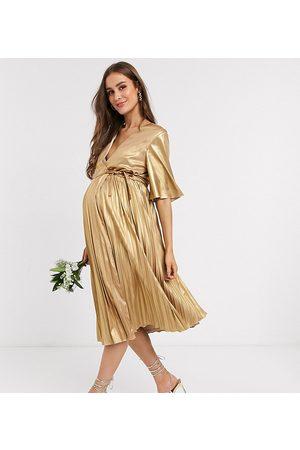 TFNC Femme Robes longues - Robe cache-cœur mi-longue plissée