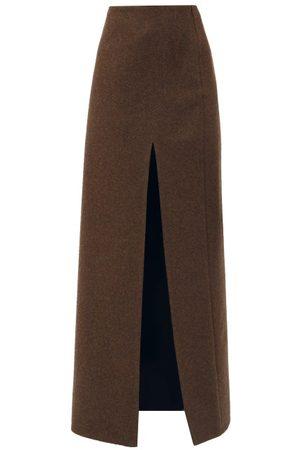 Miu Miu Femme Jupes - Jupe longue en laine feutrée fendue