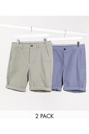 ASOS Lot de 2 shorts chino super skinny - Kaki et bleu