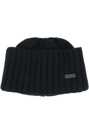 Saint Laurent Logo plaque knitted hat