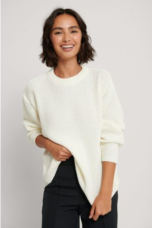NA-KD Pull Tricoté Col Rond - Offwhite