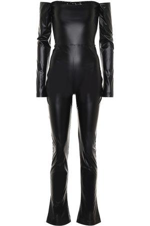 HALPERN Combi-pantalon à encolure bardot en cuir synthétique