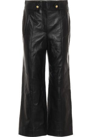 VERONICA BEARD Pantalon raccourci Agee à taille haute en cuir