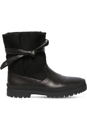Kenzo 25mm Leather & Cotton Canvas Ankle Boots