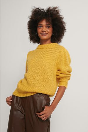 NA-KD Puff LS Round Neck Knitted Sweater - Yellow