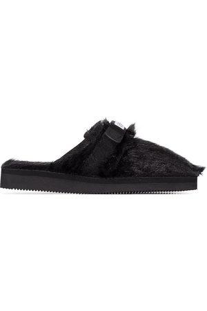 SUICOKE Black Zavo Zeu faux fur slippers