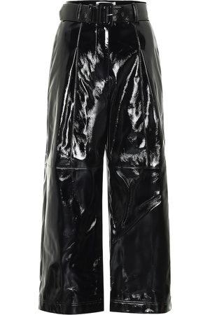 Self-Portrait Pantalon à taille haute en cuir synthétique