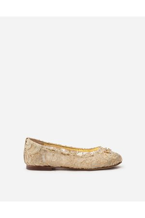 Dolce & Gabbana Collection - LAMINATED LACE BALLERINA SHOES WITH DG RHINESTONES