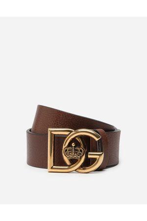 Dolce & Gabbana Collection - CEINTURE EN CUIR FOULONNÉ À LOGO DG CROISÉ