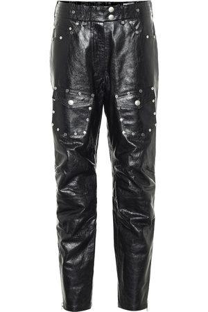 DRIES VAN NOTEN Pantalon à taille haute en cuir