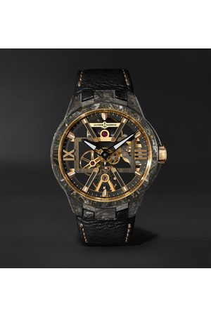 Ulysse Nardin Homme Montres - Skeleton X Hand-Wound 43mm Carbonium Gold and Full-Grain Leather Watch