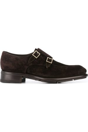 santoni Suede double-buckle shoes