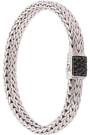 John Hardy Bracelet en chaîne à détails de saphirs noirs